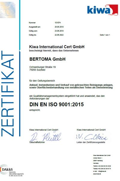 Zertifikat KIWA